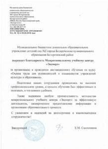 """Благодарность """"Детский сад №2"""" Новороссийск"""