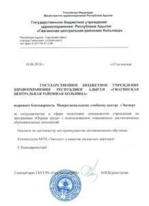 """Благодарственное письмо """"Гиагинская больница"""" Новороссийск"""